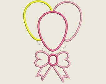 Balloons Machine Applique Design Balloons Applique Bow Applique, Balloon Bow Applique, Balloon Embroidery Design, Bow Embroidery Design,pes