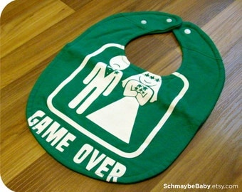Game Over Marriage Recycled T-shirt Baby Bib, Funny Baby Shower Gift, Baby Boy, Video Games, Wedding