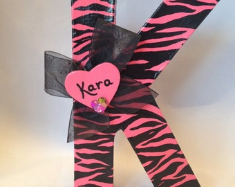Personalized Pink Zebra Print Letter