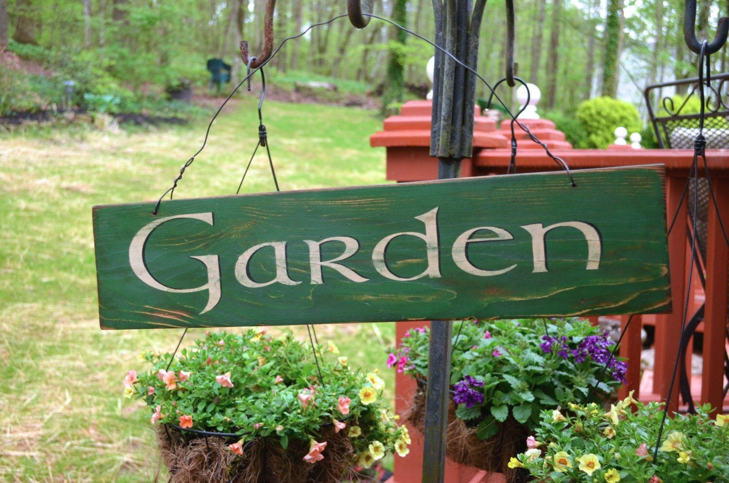 Rustic wooden garden sign primitive garden decor hanging for Outdoor decorative signs