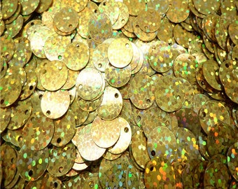 100 - 10mm sequins, spangles - holographic gold