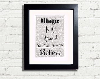 Magic Is All Around You Just Have To Believe Positive Affirmation INSTANT DIGITAL DOWNLOAD A4 Printable Pdf Jpeg Retro Home Décor Gift Idea