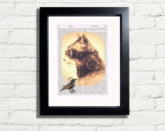Steampunk Kitty Cat  Googles & Bird INSTANT DIGITAL DOWNLOAD Wall Art Print Vintage Dictionary Style Wall Hanging Home Decor Gift Idea