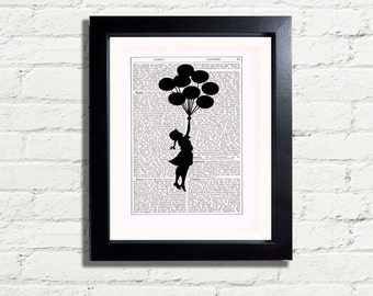 Banksy Art Girl Flying Balloons Recycled Graffiti Wall Art INSTANT DIGITAL DOWNLOAD A4 Printable Pdf Picture Poster Wall Hanging Gift Idea