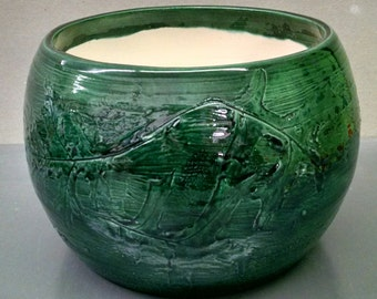 Emerald Green Pottery Planter Pot--Hand-Painted--Glazed Ceramic Bisque--Home-Patio-Garden Decor--Seasonal-Year Round Usage
