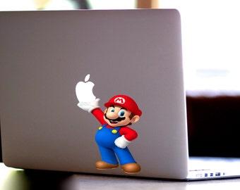 Mario, Super Mario,Mario sticker,Super Mario Decal, for Apple Computer MacBook Pro, MacBook Air, MacBook, Gift, For her, geekery