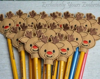 Reindeer Pencil Toppers - Party Favor - Christmas - Classroom Prizes - Winter - Small Gift - Seasonal Gift - Back to School