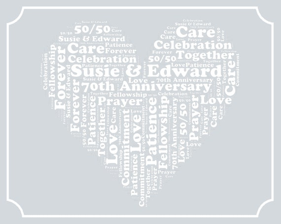 70 Year Wedding Anniversary Gifts: Items Similar To Personalized 70th Anniversary Gift Word