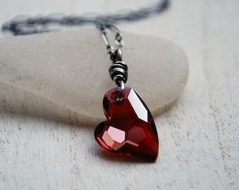 Red Crystal Heart Necklace, Swarovski Crystal Necklace, Oxidized Sterling Silver Heart Necklace, Red Crystal Necklace, Red Heart Necklace