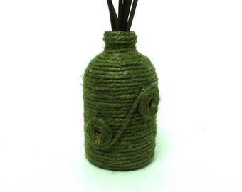 Rustic rope wrapped mini bud vase rattan stick vase centerpiece vase