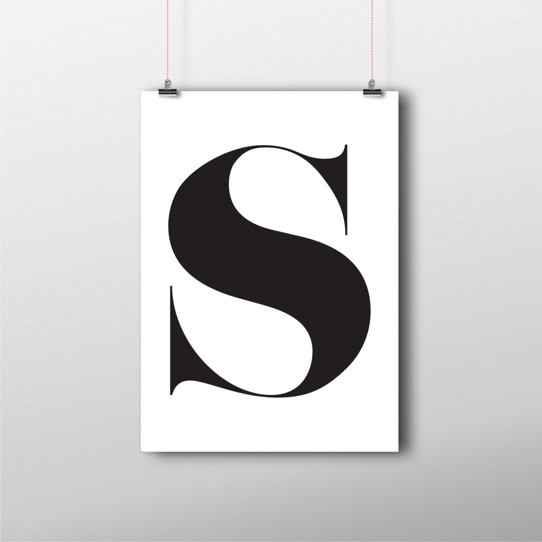 Initial Home Decor: S Letter Printable Home Decor Monogram Initial Print Initial