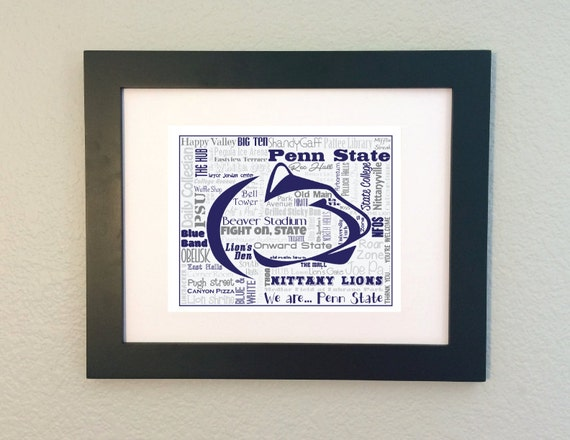 Penn state psu word art typography subway by for Penn state decorations home