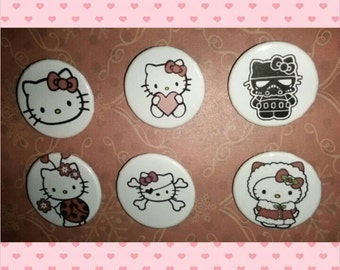 Kitty pinback button set