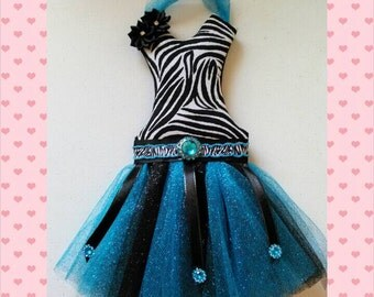 Tutu bow holder  - sm. Blue/black