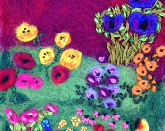 Wet and needle felted wool painting Red Sky, Blue Flowers