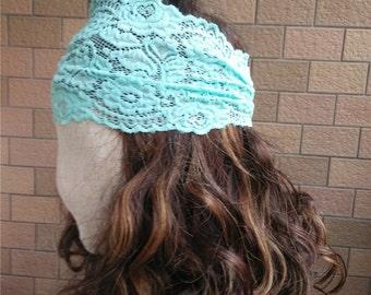 Light blue Lace Headband,  Stretchy Lacy Hair Bands,  Stretch Lace Headband,   Wide Lace Headband , coral Headband  T150214