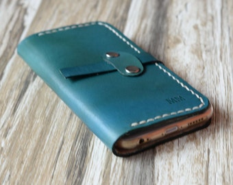 Personalized Leather IPhone 6 Case / iphone 6 wallet / women's or men's iPhone 6 wallet / iPhone 6 Plus Case Wallet / blue-green