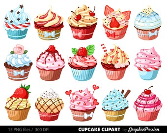 Cupcakes clipart  digital cupcake clip art cupcake digital illustration cupcake Vector birthday cakes bakery sweets frosting chocolate 22