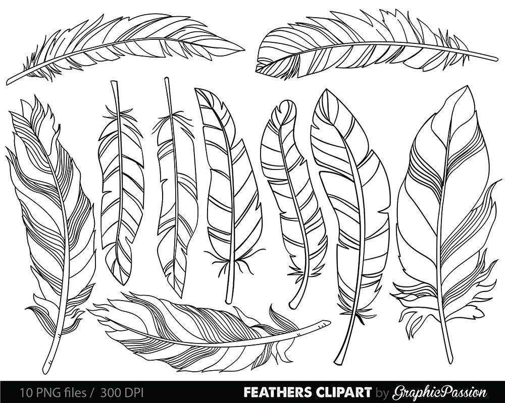 Feather Clipart Clip Art Vectors Tribal Feather Drawings Clip