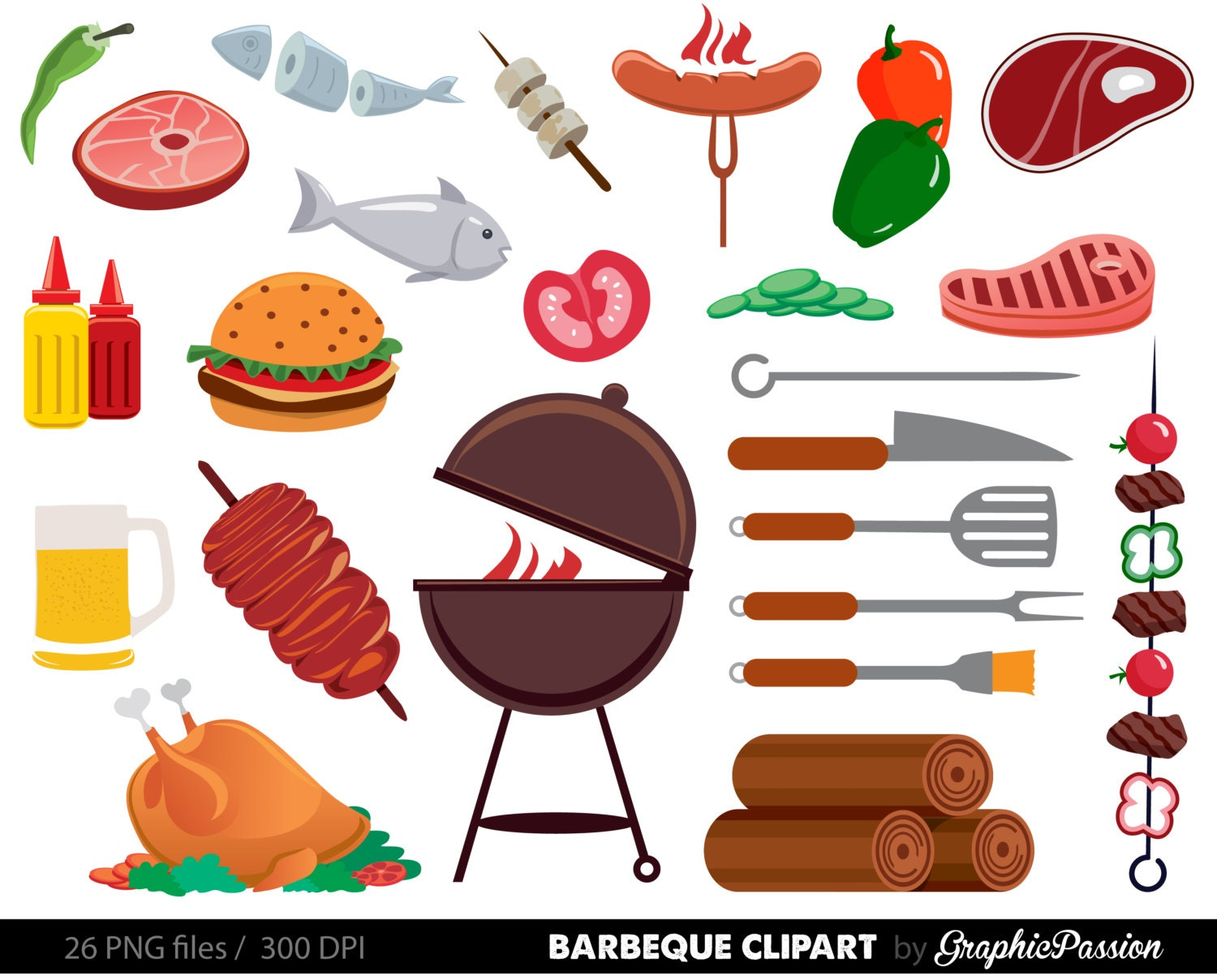 BBQ Clipart Cookout Clipart Barbeque Clipart Party Food - Backyard bbq party cartoon