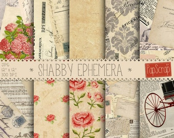 "Vintage ephemera : ""Shabby Ephemera"" vintage digital paper for decoupage, scrapbooking, card making and crafts, french digital paper"