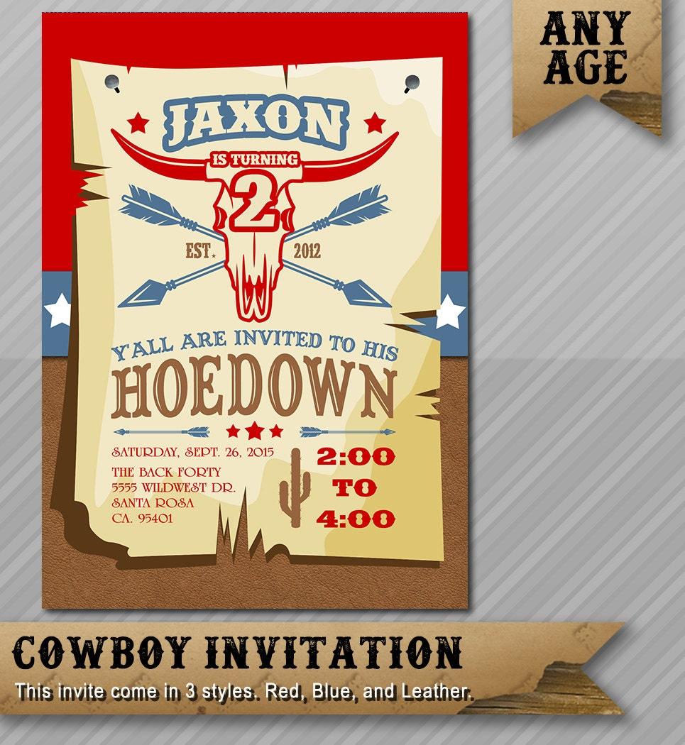Cowboy Invitation - Hoedown Invitation - Cowboy Birthday Invite ...