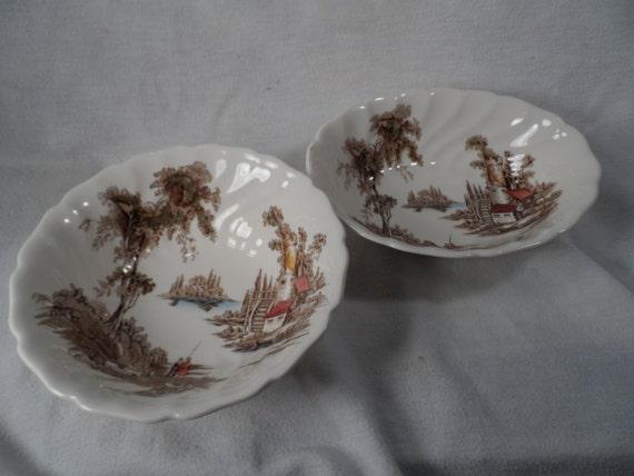 "Vintage Johnson Bros. ""The Old Mill""-Ceramic English Transferware Bowls"