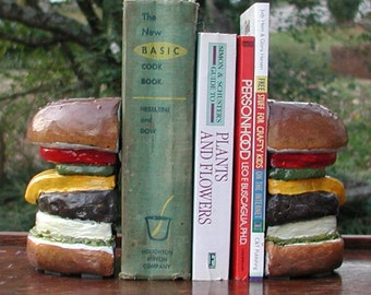 Hamrbuger Concrete Bookends, Hand-painted, Full Color Finish