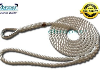 3 Strand Mooring Pendant 100% Nylon Premium Rope Line with Thimble (TS. 3700 lbs.) Sizes 3/8' x 6'-8'-10'-12'-14' - Free Shipping in USA