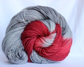 Hand dyed yarn, red / gray speckled yarn, superwash merino, superwash wool / nylon, fingering, worsted bulky weight, 100g