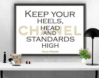 """Coco Chanel Quote, """"Keep your heels,head..."""", Printable Art, Printable Quote, Inspiring Motivational Quote, Instant Download, Wall Art Print"""