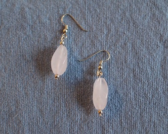 Swirled rose quartz earrings