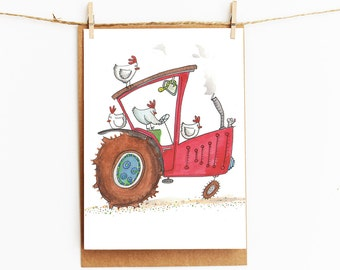 greeting card - red tractor - quirky chickens - childrens gift card - 106x145xmm