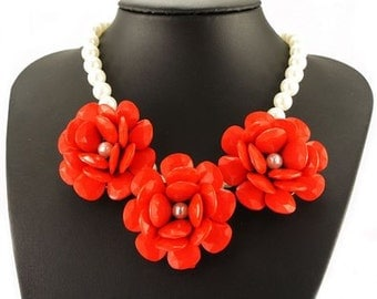 Red Flower Statement Necklace - Red Statement Necklace - Vintage Flower Choker