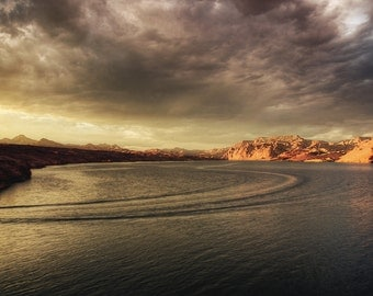 Sunset Cruise, Lake Mojave, Nevada, Nelsons Landing, lake, Water, Beach, Waves, Clouds, Sunset, Storm