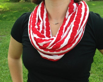 Infinity Scarf Red and White Striped