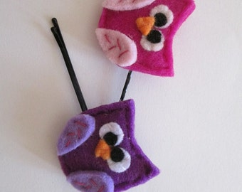 Set of two Felt Hair Pins with Owls Fuchsia and Purple -  Gift under 10 - Back to school - Childre Hair Pins
