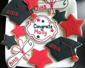 Graduation hat ,diploma,stars sugar cookies decorated with royal icing cookies personalized