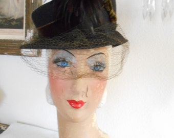 1940's Brown Felt Tilt Hat with Feathers and Netting