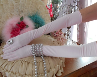 1960's Pretty in Pink Opera Gloves