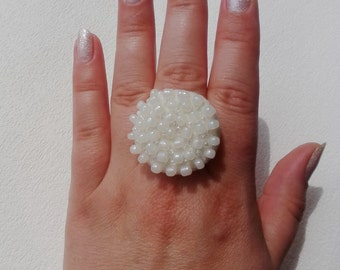 Felted Large White Ring - Felted Wedding Jewelry