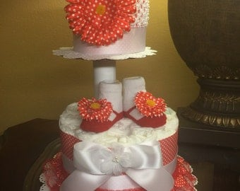 Unique two tier diaper cake for baby girl- red and white polka dots diaper cake