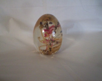 Vintage Glass Paperweight with Flowers