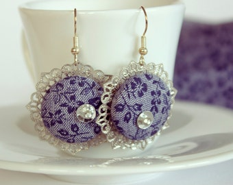 Dangle Grey and Blue Fabric covered Button Earrings
