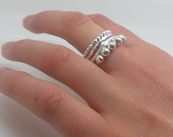 Sterling Silver String of Droplet Band