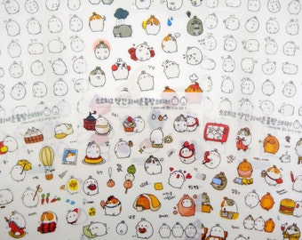 Molang stickers - bunny stickers - animal stickers - cute bunnies - day planner stickers - dessert stickers - chubby bunny planner accessory