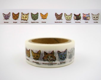 Cat breed emoticon face 5m Japanese washi tape - kawaii decortative masking paper tape - cute kitty cats Japan deco paper tape - 1 roll
