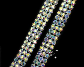 3-row AB crystal rhinestone chain trim DIY wedding cake decor 1 yard