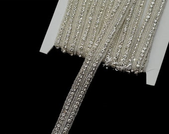 1 Yard 2row crystal rhinestone beaded trim applique Iron On bridal costume