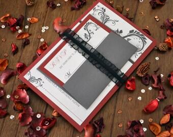 Regal Wedding Invitation Set - Red Velvet
